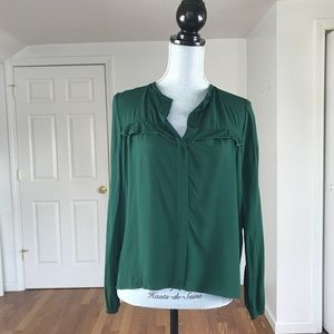Zara Tops - ZARA LONG SLEEVE BUTTON DOWN RUFFLE BLOUSE GREEN S